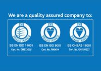We are accredited to BS EN ISO 9001, BS EN ISO 14001 and BS OHSAS 18001.